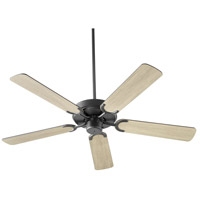 Quorum 6525-59 Virtue 52 inch Matte Black with Matte Black and Weathered Gray Blades Ceiling Fan, Quorum Home