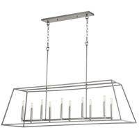 Quorum 654-10-64 Gabriel 10 Light 54 inch Classic Nickel Linear Pendant Ceiling Light Quorum Home