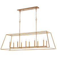 Quorum 654-10-74 Gabriel 10 Light 54 inch Gold Leaf Linear Pendant Ceiling Light, Quorum Home