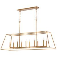 Quorum 654-10-74 Gabriel 10 Light 54 inch Gold Leaf Linear Pendant Ceiling Light Quorum Home