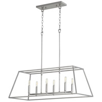 Quorum 654-6-64 Gabriel 6 Light 35 inch Classic Nickel Linear Pendant Ceiling Light, Quorum Home
