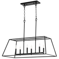 Quorum 654-6-69 Gabriel 6 Light 35 inch Noir Linear Pendant Ceiling Light, Quorum Home