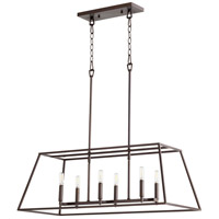 Quorum 654-6-86 Gabriel 6 Light 15 inch Oiled Bronze Foyer Pendant Ceiling Light, Quorum Home