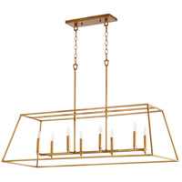 Quorum 654-8-74 Gabriel 8 Light 45 inch Gold Leaf Linear Pendant Ceiling Light, Quorum Home