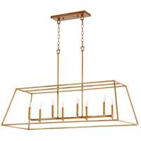 Quorum 654-8-74 Gabriel 8 Light 45 inch Gold Leaf Linear Pendant Ceiling Light Quorum Home