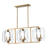 Quorum 655-6-80 Broadway 6 Light 46 inch Aged Brass Island Light Ceiling Light