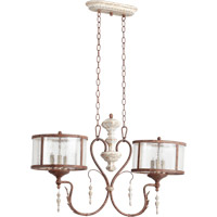 Quorum 6552-6-56 La Maison 6 Light 35 inch Manchester Grey with Rust Accents Island Light Ceiling Light