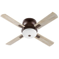 Quorum 65524-86 Davenport 52 inch Oiled Bronze with Reversible Walnut and Weathered Oak Blades Indoor Ceiling Fan, Satin Opal, Hugger