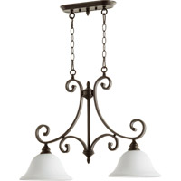 Quorum 6554-2-186 Bryant 2 Light 30 inch Oiled Bronze Island Light Ceiling Light in Satin Opal