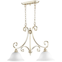Quorum 6554-2-60 Bryant 30 inch Aged Silver Leaf Island Light Ceiling Light in Satin Opal, Satin Opal