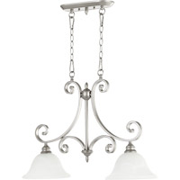 Quorum 6554-2-64 Bryant 2 Light 30 inch Classic Nickel Island Light Ceiling Light in Faux Alabaster