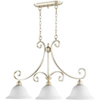Quorum 6554-3-60 Bryant 36 inch Aged Silver Leaf Island Light Ceiling Light in Satin Opal, Satin Opal
