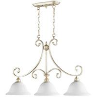 Quorum 6554-3-60 Bryant 36 inch Aged Silver Leaf Island Light Ceiling Light in Satin Opal Satin Opal