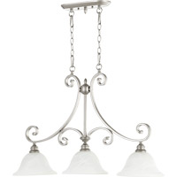 Quorum 6554-3-64 Bryant 3 Light 36 inch Classic Nickel Island Light Ceiling Light in Faux Alabaster