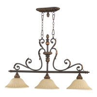 Quorum 6557-3-44 Rio Salado 3 Light 45 inch Toasted Sienna With Mystic Silver Island Light Ceiling Light