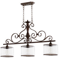 Quorum 6573-3-39 San Miguel 42 inch Vintage Copper Island Light Ceiling Light, Clear Seeded