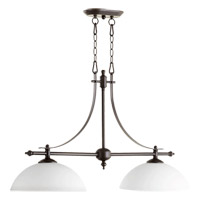 Quorum 6577-2-186 Aspen 2 Light 36 inch Oiled Bronze Island Light Ceiling Light in Satin Opal