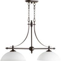 Quorum 6577-2-186 Aspen 2 Light 36 inch Oiled Bronze Island Light Ceiling Light in Satin Opal