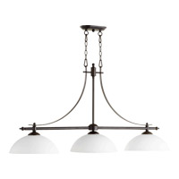 Quorum 6577-3-186 Aspen 3 Light 48 inch Oiled Bronze Island Light Ceiling Light in Satin Opal