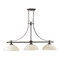 Quorum 6577-3-86 Aspen 3 Light 48 inch Oiled Bronze Island Light Ceiling Light in Linen