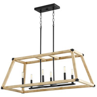 Alpine 6 Light 36 inch Noir with Driftwood Linear Pendant Ceiling Light