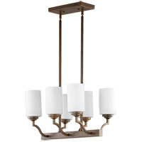 Quorum 6596-6-186 Atwood 20 inch Oiled Bronze Island Light Ceiling Light in Satin Opal, Satin Opal
