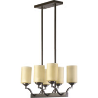 Quorum 6596-6-86 Atwood 6 Light 20 inch Oiled Bronze Island Light Ceiling Light in Amber Scavo