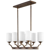 Quorum 6596-8-186 Atwood 29 inch Oiled Bronze Island Light Ceiling Light in Satin Opal Satin Opal