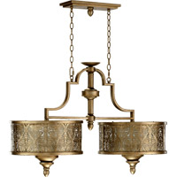 Quorum International French Damask 6 Light Island Light in Vintage Pewter 6597-6-18