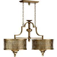 Quorum International French Damask 6 Light Island Light in Vintage Pewter 6597-6-18