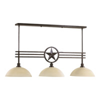 Quorum 6628-3-44 Lone Star 3 Light 49 inch Toasted Sienna Island Light Ceiling Light