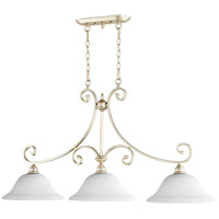Quorum 6654-3-60 Bryant 45 inch Aged Silver Leaf Island Light Ceiling Light in Satin Opal, Satin Opal