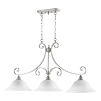 Quorum 6654-3-64 Bryant 3 Light 45 inch Classic Nickel Island Light Ceiling Light in Satin Opal