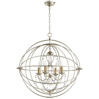 Quorum 6716-4-60 Cilia 28 inch Aged Silver Leaf Chandelier Ceiling Light, Sphere