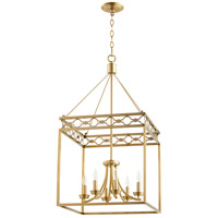 Durand 6 Light 18 inch Aged Brass Entry Pendant Ceiling Light