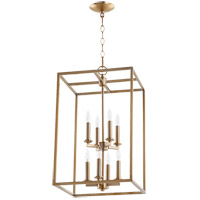 Quorum 6731-8-80 Cuboid 8 Light 14 inch Aged Brass Foyer Pendant Ceiling Light
