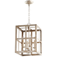 Quorum 6732-4-60 Signature 4 Light 12 inch Aged Silver Leaf Foyer Pendant Ceiling Light
