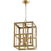 Quorum 6732-4-80 Signature 4 Light 12 inch Aged Brass Foyer Pendant Ceiling Light