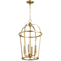 Quorum 6734-4-80 Signature 4 Light 15 inch Aged Brass Foyer Pendant Ceiling Light