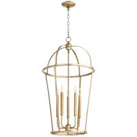 Quorum 6734-5-60 Signature 5 Light 18 inch Aged Silver Leaf Foyer Pendant Ceiling Light