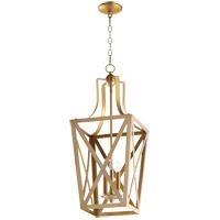 Quorum 6736-3-80 Signature 3 Light 12 inch Aged Brass Foyer Pendant Ceiling Light