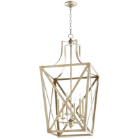 Quorum 6736-6-60 Signature 6 Light 18 inch Aged Silver Leaf Foyer Pendant Ceiling Light