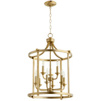 Quorum 6807-9-80 Lancaster 9 Light 18 inch Aged Brass Foyer Pendant Ceiling Light
