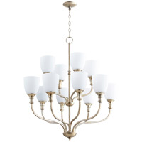 Richmond 12 Light 34 inch Aged Silver Leaf Chandelier Ceiling Light