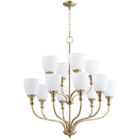 Quorum 6811-12-80 Richmond 12 Light 34 inch Aged Brass Chandelier Ceiling Light