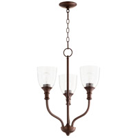 Quorum 6811-3-186 Richmond 3 Light 18 inch Oiled Bronze Chandelier Ceiling Light in Clear Seeded