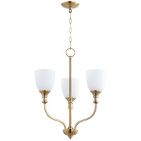 Quorum 6811-3-80 Richmond 3 Light 18 inch Aged Brass Mini Chandelier Ceiling Light in Satin Opal