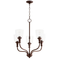 Quorum 6811-5-186 Richmond 5 Light 24 inch Oiled Bronze Chandelier Ceiling Light in Clear Seeded
