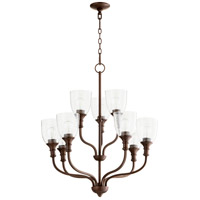 Quorum 6811-9-186 Richmond 9 Light 26 inch Oiled Bronze Chandelier Ceiling Light in Clear Seeded