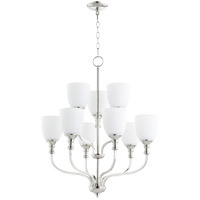 Quorum 6811-9-62 Richmond 9 Light 26 inch Polished Nickel Chandelier Ceiling Light in Satin Opal